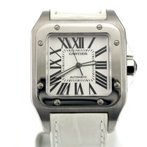 Cartier LIKE NEW Santos 100 XL Steel Case with White Leather...