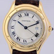 Cartier Cougar Unisex 18k Gold massiv Quarz Luxusuhr roman dial