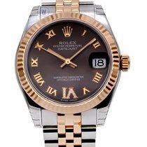 Rolex Datejust 31 Chocolate Dial Large VI Diamond 18ct Everose...