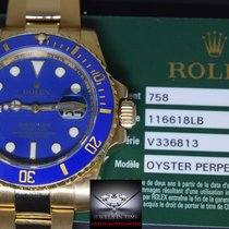 Rolex Submariner 18k Yellow Gold Blue Ceramic Watch Box/Papers...