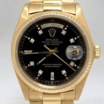 Rolex Mens Rolex 18k Yellow Gold President Day Date Black...