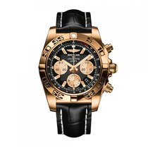 Breitling Chronomat Automatic Rose Gold Black Dial Mens Watch...