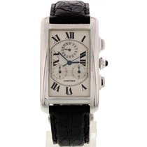 Cartier Tank Americaine 18K White Gold Chronograph 2312
