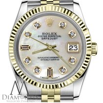Rolex White Pearl Face Rolex 18k 2t 31mm Datejust Mop Mother...