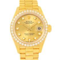 Rolex President Datejust Ladies 18k Yellow Gold Diamond Watch...