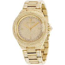 Michael Kors Camille Crystal Covered Gold Stainless Steel...