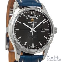 Breitling Transocean Day & Date 43mm Watch Steel Black...
