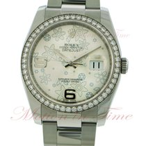 Rolex Datejust 36mm, Silver Floral Dial, White Gold Diamond...