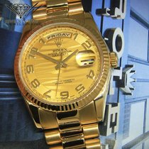 Rolex Day-Date President 18k Yellow Gold Champagne Wave Arabic...
