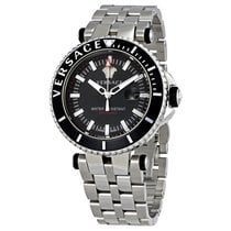 Versace V Race Diver Black Dial Men's Stainless Steel Watch