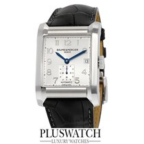 Baume & Mercier Hampton Rectangular Silver Dial Leather...