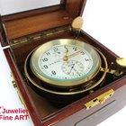 Wempe Marinechronometer Chronometerwerke Hamburg Mahagoni/Messing