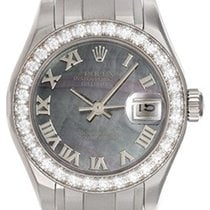 Rolex Ladies 18k White Gold Pearlmaster Tahitian Mother of...
