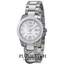 Longines Conquest White Dial White Ceramic and Steel G
