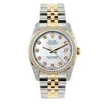 Rolex Datejust Men's 36mm White Mother Of Pearl Dial Gold...