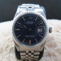 Rolex DATEJUST 1603 SS ORIGINAL Glossy Blue Dial with Folded...