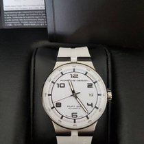 Porsche Design Flat Six Automatic 40 Steel, white, with Kautschuk