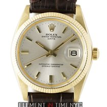 Rolex Oyster Perpetual Date 34mm 14k Yellow Gold Silver Dial...