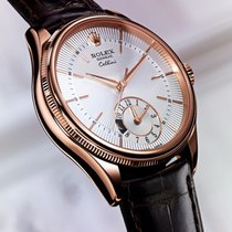 Rolex Cellini Dual Time 39mm Mens Watch ROSE GOLD 50525 Silver...