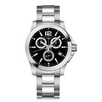 Longines Conquest Chronograph Stainless Steel Quartz Mens...