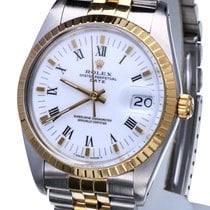 Rolex Oyster Date Gold Steel White Roman Dial 34 mm (Full Set)