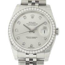 Rolex Datejust 36mm Diamond Bezel & Silver Diamond Dial