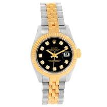 Rolex Datejust Steel Yellow Gold Black Diamond Dial Ladies...