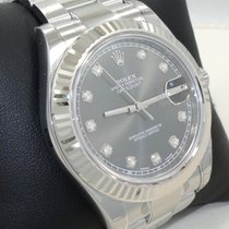Rolex Datejust II 116334 41mm Rhodium Diamond Dial 18k White...