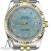 Rolex Shiny Blue Ladies Rolex 26mm Datejust 2tone Diamond...