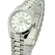 Rolex Unworn 179179 Lady President in White Gold with Fluted...