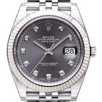 Rolex Datejust 41 Edelstahl Weißgold 126334 Rhodium Diamant...