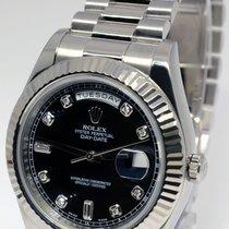 Rolex Day-Date II President 18k White Gold Diamond Dial Watch...