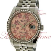 Rolex Datejust 36mm, Pink Floral Dial, White Gold Diamond...