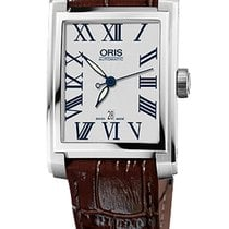 Oris Rectangular 30x44 Date, Roman, Brown Leather Bracelet