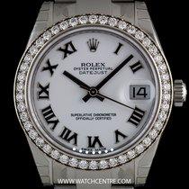 Rolex S/S Unworn White Dial Diamond Datejust Mid-Size B&P...
