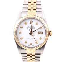 Rolex Mens 18K/SS Datejust White Diamond Dial, Jubilee Band,...