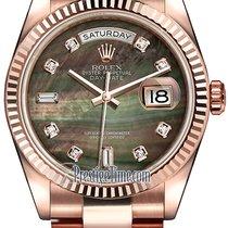 Rolex Day-Date 36mm Everose Gold Fluted Bezel 118235 Black MOP...