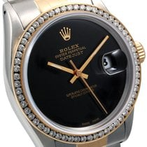 Rolex 36mm 18K/SS  Datejust Custom Black Dial Diam Bezel Quickset