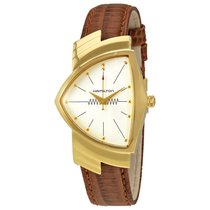 Hamilton Ventura White Dial Men's Leather Strap Watch...