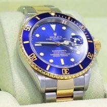 Rolex Submariner 16613 18k Yellow Gold /steel Blue Bezel Watch...