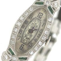 Abra Antique Art Deco Platinum Emerald Diamond Abra Swiss Watch