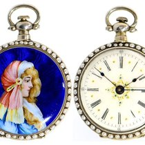 A rare decorative pearl-set enamel pocket watch for the...