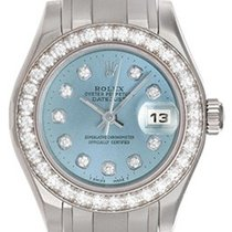 Rolex Ladies Glacier Blue Diamond Pearlmaster 18k White Gold...