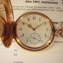 IWC Sehr frühe und schwere  Taschenuhr Savonnette in 14k Gold.