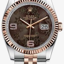 Rolex DATEJUST 36mm Steel & 18K Rose Gold Chocolate Floral