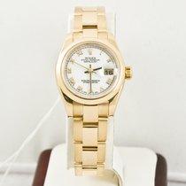 Rolex  Ladys 18k Yellow Gold President 179168  White Roman