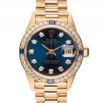 Rolex Datejust Lady 18kt Gelbgold Diamond Saphir Automatik...