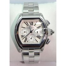 Cartier Roadster Chronograph Watch Stainlesss Steel Silver Dial