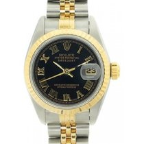 Rolex Datejust Ladies' 26mm Black Dial Stainless Gold And...