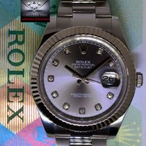 Rolex Datejust II Steel 18k White Gold Bezel Diamond Dial 41mm...